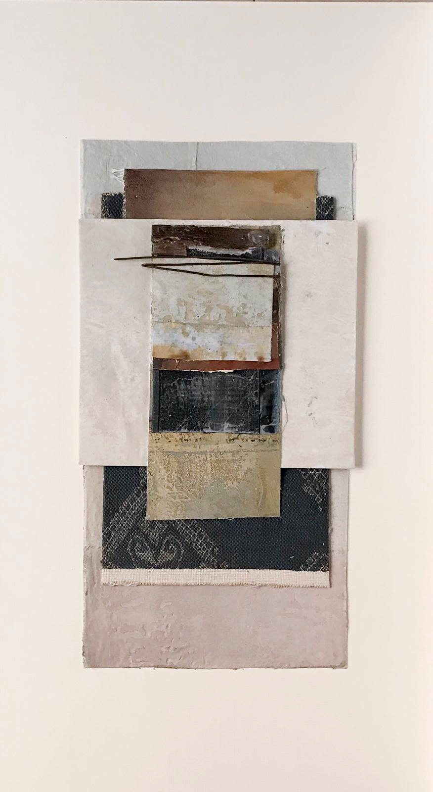 Assemblaggio su carta - Tela, carta, cera, stoffa, ferro (2019)